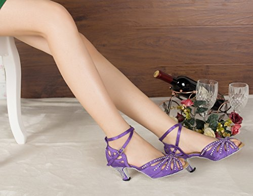 10 M Miyoopark Women's US Party Shoes Dance Heel Satin Wedding Purple Flared qTqvzg