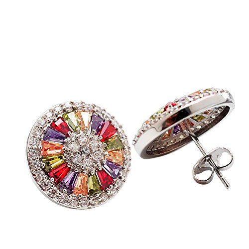 Wide Luxury Fashion Jewelry 18k White Gold Plated Halo Stud Earrings with Colorful Cubic Zirconia Diamond