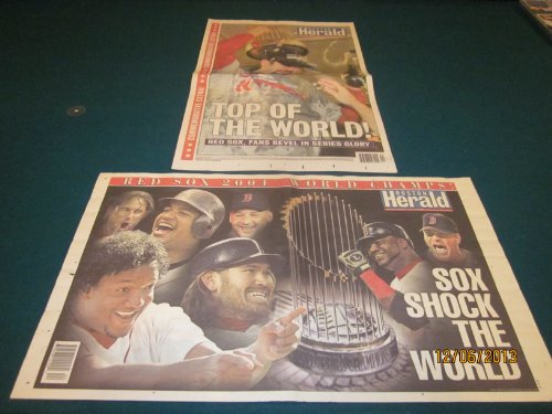 2004 Red Sox Win World Series Next Day Boston Herald 1st Edition and Commemorative Edition (2 Newspapers)