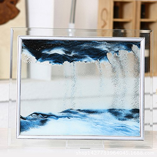 BT-RSTT Blue Moving Sand Glass Picture Home Office Desk Decor Birthday Xmas Gift w/ Holder