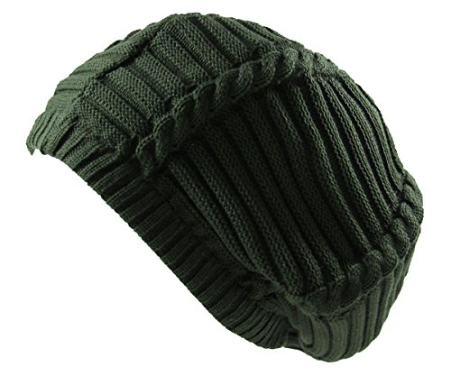 RW 100% Cotton Classic Rasta Slouchy Ribbed Beanie Hats (Olive Green)