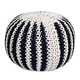 BIRDROCK HOME Round Pouf Foot Stool Ottoman – Knit Bean Bag Floor Chair – Cotton Braided Cord – Great for The Living Room, Bedroom and Kids Room – Small Furniture