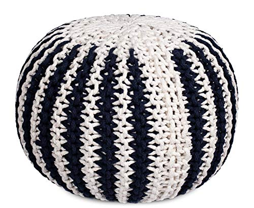 BIRDROCK HOME Round Pouf Foot Stool Ottoman - Knit Bean Bag Floor Chair - Cotton Braided Cord - Great for The Living Room, Bedroom and Kids Room - Small Furniture - Living Room Cotton Chair