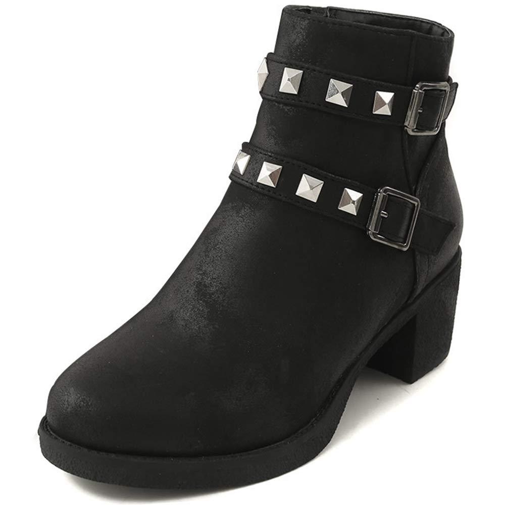 CITW Herbst Damenstiefel-Plattform Stiefel Rivet Martin Stiefel Großformat Damenstiefel Wasserdichte Plattform,schwarz,UK3 EUR37