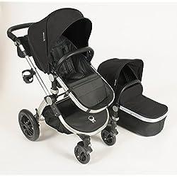 Babyroues Letour Avant Canvas Stroller - Eclipse Black/Silver