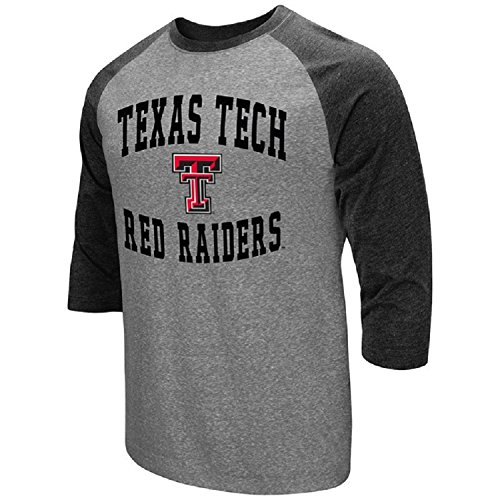 Colosseum Men's NCAA-Raglan-3/4 Sleeve-Heathered-Baseball T-Shirt-Texas Tech Red Raiders-Large