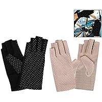 Xrten 2 paar Zonnebrandcrème Vingerloze Handschoenen UV Bescherming Rijden Handschoenen voor Meisje Lady Zomer Outdoor…