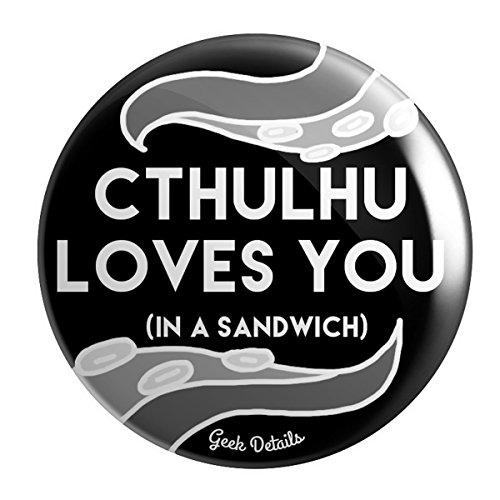 Love Button Pinback (Geek Details Cthulhu Themed 2.25