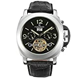 Fashion Design Men's Automatic Calendar Synthetic Leather Strap Wrist Watch BLACK