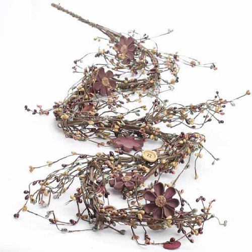 Factory Direct Craft Hand Wrapped Earthy Mixed Berry, Wooden Button and Daisy Garland for Decorating and ()