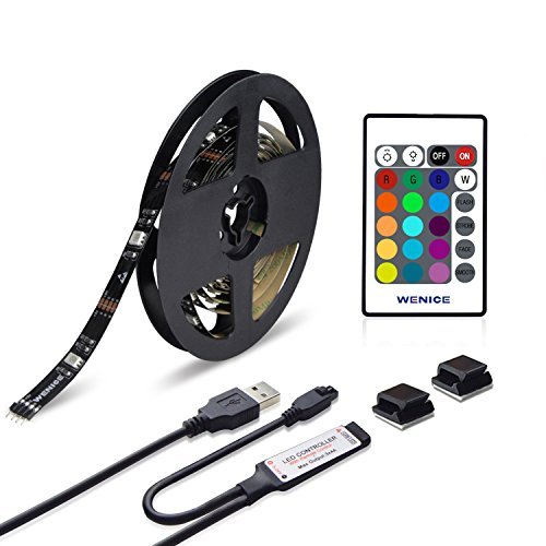 WENICE LED Strip Lights 4m/157in for 70-75inch TV, USB 5050 RGB Flexible 5050 Light with 24 Key IR Remote Dimmable LED Strip Kit-Multi Color