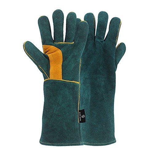 Handing workshop Welding Gloves EXTREME HEAT RESISTANT Cow Split Leather BBQ Camping Cooking Weld Gloves Baking Grill Gloves Mitts for Tig Welder Fireplace Stove Pot Holder (Split Leather Welders)