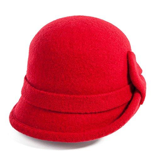 Siggi Ladies 1920s Wool Felt Cloche Bowler Hats for Women Bucket Hat Packable Red -