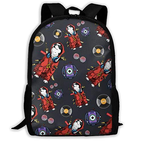 Lightweight Assassin's Dog Sword Headphones Stream DJ Audio Speaker Disc Sunglasses Printed School Backpack Water Resistant Travel Rucksack Bag Laptop Backpack Daypack,17 ()