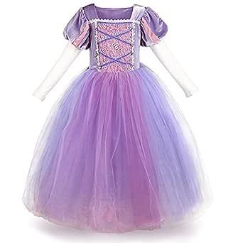 IWEMEK Sofia el Primer Traje de Princesa Rapunzel Disfraz Carnaval para Ninas Halloween Navidad Cumpleaños Cosplay Costume Vestido de Manga Larga ...