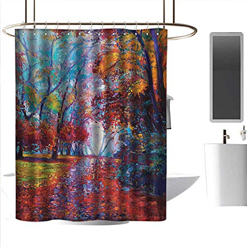 Shower Curtains Gray and Black Country,Colorful Fairy Paint of Park in Fall Arts View of The Earth and Trees in The Nature Art,Multi,W108 x L72,Shower Curtain for Shower stall