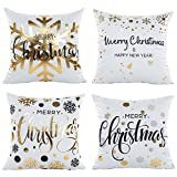 4 Pcs Christmas Theme Cushion cover,Sofa cushion Car Office Pillowcase, 100% Polyester Fibers Not the ball Decorative Pillow Cover 18X18 Inch