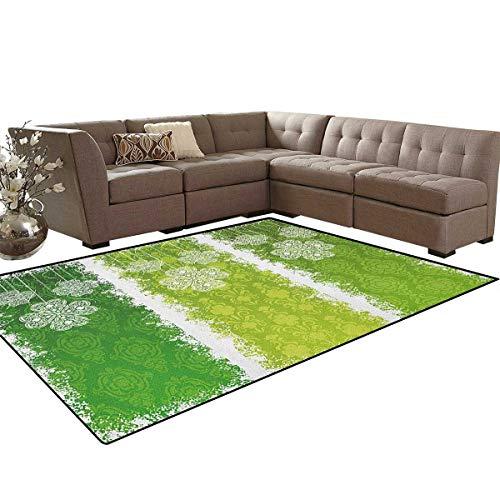 - Irish,Rug,Aged Vintage Antique Figures on Green Toned Color Bands Celtic Historic Lace Image,Home Decor Floor Carpet,Multicolor Size:5'x8'
