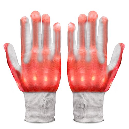 Vbiger LED Gloves Knit Gloves Party Light Show Gloves For Clubbing, Rave, Birthday, EDM, Disco, Christmas, Halloween And Dubstep Party (Red light)