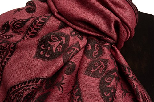 Large Paisley On Puce Pink Pashmina Feel With Tassels - Rose ?charpe Taille Unique - 70cm x 180cm