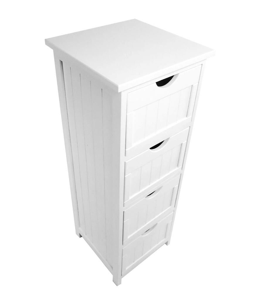 Assembled Slim Narrow White 4 Chest Of Drawer Bedside Table Storage Unit  Cabinet (30x30x82cm): Amazon.co.uk: Kitchen U0026 Home