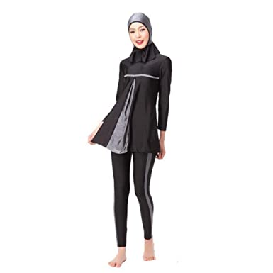 4d8f476859fe9 Xinvision Muslim Women Long Sleeve Modest 3 Pieces Summer Swimsuit Islamic  Arab Full Cover Sun Protection