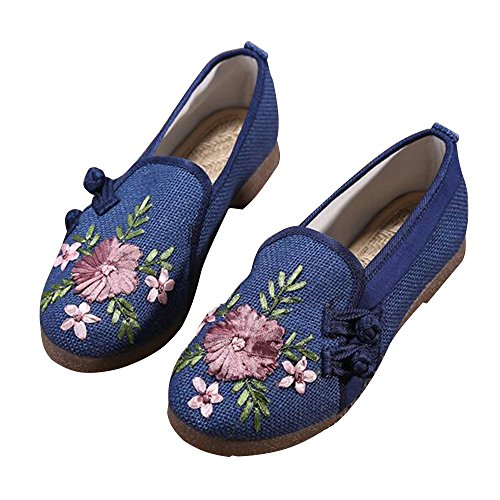 cheap BININBOX Women's Linen Flat Shoes Embroidered Loafers Espadrilles save more