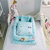 Ukeler Baby Bassinet for Bed - Cartoon Zoo Baby Lounger -100% Cotton Portable Crib for Bedroom/Travel - Breathable & Hypoallergenic Co-Sleeping Baby Bed Nest with Quilt Pillow (Blue)