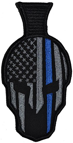 Spartan Helmet with Thin Blue Line - 2.75x5.25 Morale Patch