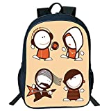 Diversified Style Black Double-deck Rucksack,Funny,Musician People Icons with Guitar Headphones Hip Hop Boy DJ Emo Song Star Print Decorative,Sand Brown White,for Kids,Print Design.15.7''x 11.8''x 6.3''