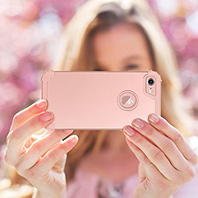 iPhone 8 Case, iPhone 7 Case, BENTOBEN Shockproof 3 Layer High Impact Resistant Hybrid Heavy Duty Hard PC Soft Silicone Full Body Protective Phone Cover for Apple iPhone 7 / 8 (4.7 Inch), Rose Gold