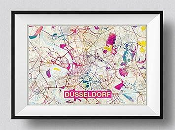 Amazon.com: Düsseldorf (Germany) Artistic Modern Map - Photo Poster on