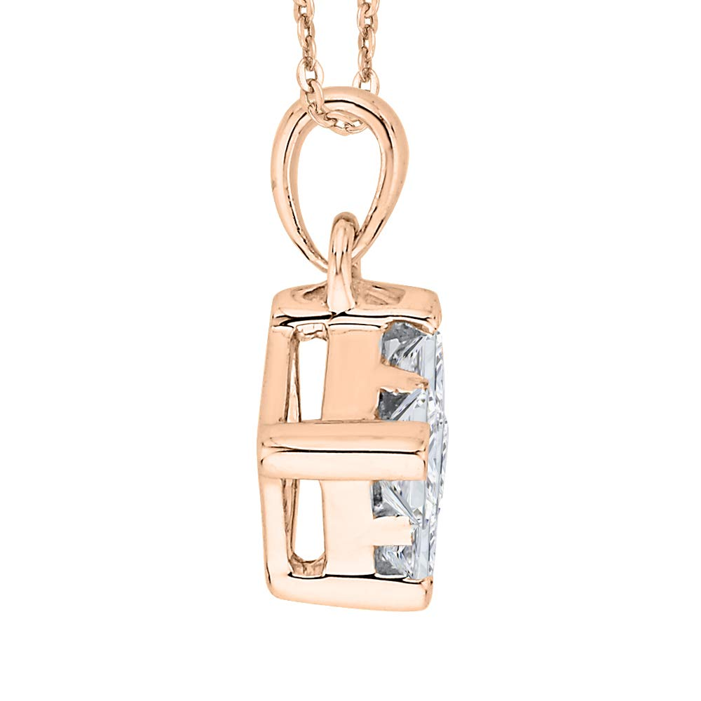 1//5 cttw, H-I, I2-I3 KATARINA Princess Cut Diamond Pendant Necklace in Gold or Silver
