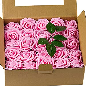 Loveinside 50pcs Artificial Flowers Roese - Real Looking Fake Roses,for DIY Bouquets,Wedding Home Party Decorations - Rose Pink 70
