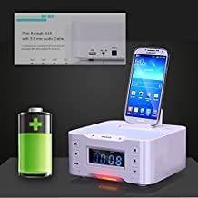 A9 NFC Bluetooth docking speaker Supported Radio Alarm Clock for Apple/Samsung/LG Phones & tablets(white)