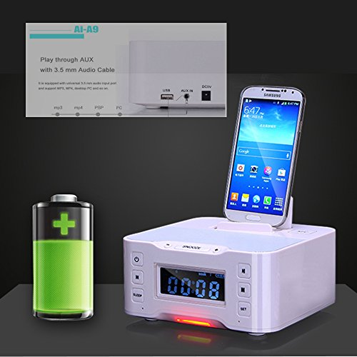A9 NFC Bluetooth docking speaker Supported Radio Alarm Clock for Apple/Samsung/LG Phones & tablets(white) by iKNOWTECH
