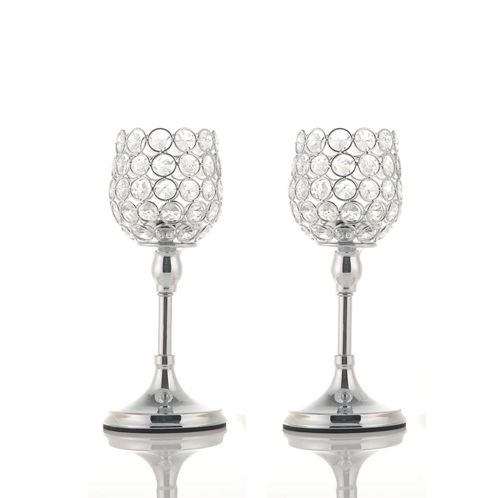 VINCIGANT Mothers Day Crystal Candlesticks Holders Set of 2 for Anniversary Home Decor Thanksgiving Gifts,Wedding Coffee Table Decorative Centerpieces,10 Inches Tall