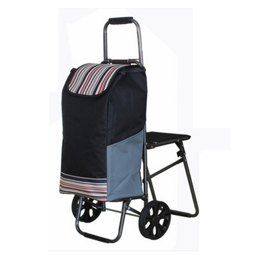 ZR-ショッピングカート 折り畳み食料雑貨の買い物カートトロリーの階段折りたたみカート -ショッピングと持ち運び (色 : Black) B07FMMYKNM Black Black