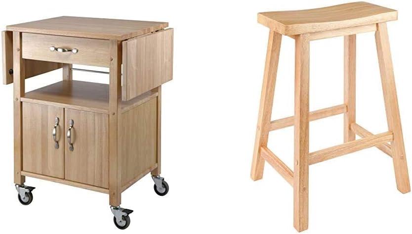 "Winsome Wood Drop-Leaf Kitchen Cart & Satori Stool, 24"", Natural"