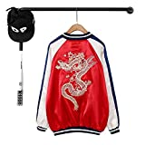 Women Dragon Floral Embroidery Bomber Jacket Harajuku Pilot Jacket Hip Hop Coat,Red,M