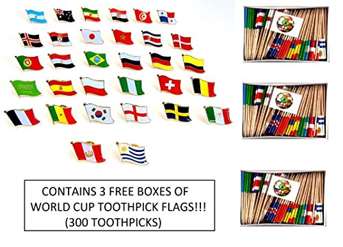 WORLD CUP 2018 SOCCER FLAGS 2018 - SET of 32 Flag Lapel Pins, One Pin for Each Team Competing for the Cup, Pin Badge Set Plus Three Boxes of World Cup Soccer Toothpick Flags (300 toothpick flags)