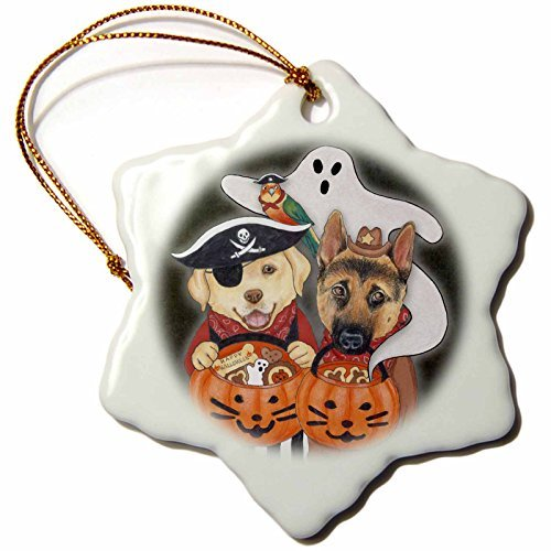 Ornaments to Paint Laura J. Holman Art - Halloween Dogs - Labrador, Shepherd, and parrot in costume with a ghost. -
