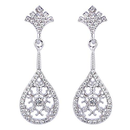 BriLove Women's 1920s Vintaged Inspired Hollow Austrian Crystal Floral Teardrop Dangle Earrings Clear Silver-Tone