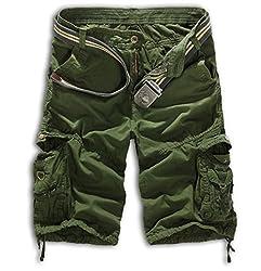 Pinkmerry Men's Cargo Shorts Solid Multi-Pocket Cargo Camouflage
