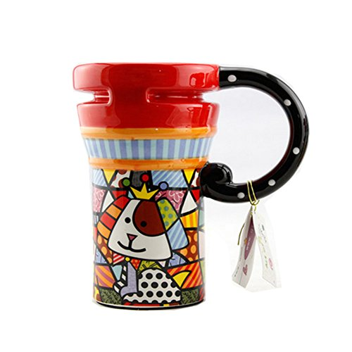 Painted Creative Mug Ceramic Cup Lid With Spoon, Large Capacity Cup, S