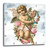 3dRose Sven Herkenrath Animal - A Blond Cherub Angel Holding Flowers with Clouds in the Background - 10x10 Wall Clock (dpp_275918_1)
