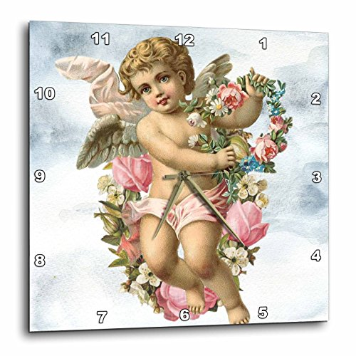 3dRose Sven Herkenrath Animal - A Blond Cherub Angel Holding Flowers with Clouds in the Background - 10x10 Wall Clock (dpp_275918_1) by 3dRose
