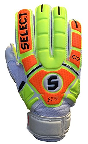 Select Sport America Youth 03 Guard Goalkeeper Gloves with Finger Protection, Yellow/Orange, Size 5 (Kids Soccer Gk Gloves)