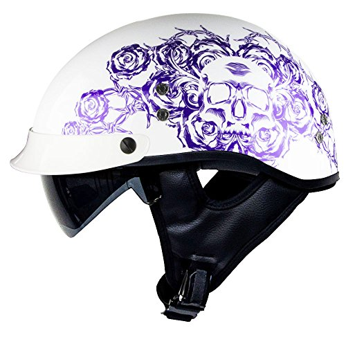 Voss 888FRP Gloss White Skull and Rose Bullet Cruiser Half Helmet with Integrated Sun Lens and Metal Quick Release - M - Gloss Purple/ White ()