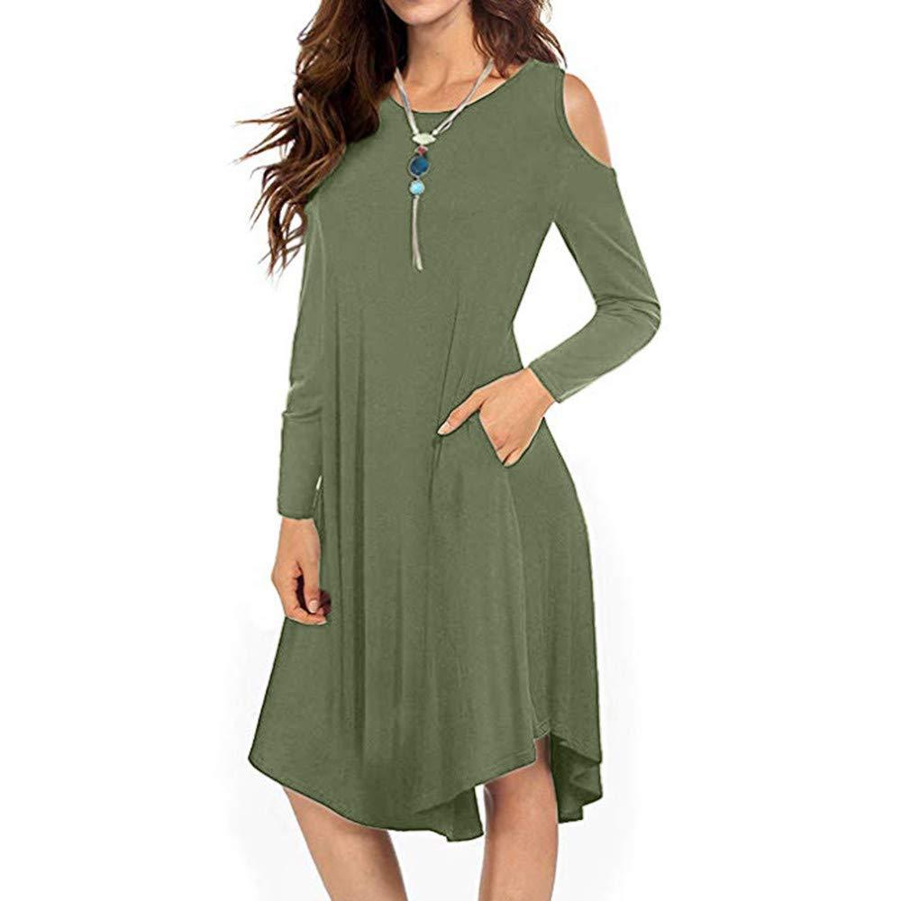 Frauen Casual Solid Cold Shoulder Kleider, lose Langarm-Taschen Swing Midi-Kleid
